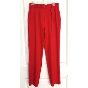 Vintage Escada Couture Red Wool Dress Pants 4 (36)